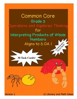 Grade 3 Math Common Core 3.OA.1 Interpreting Products