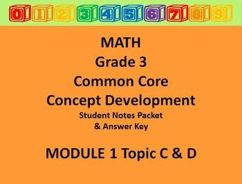 Grade 3 Math Common Core CCSS Student Lesson Pack Module 1 Topics C -D & Ans Key