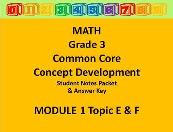 Grade 3 Math Common Core CCSS Student Lesson Pack Module 1 Topics E -F & Ans Key