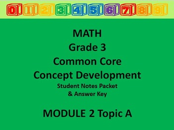 Grade 3 Math Common Core CCSS Student Lesson Pack Module 2 Topic A & Ans Key