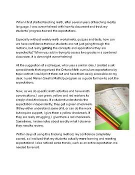Grade 3 Math - Curriculum-Based Checklist