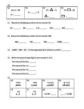 End of Year Grade 3 Math Assessment aligned with the Common Core