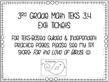 Grade 3 Math Exit Tickets - TEKS 3.4
