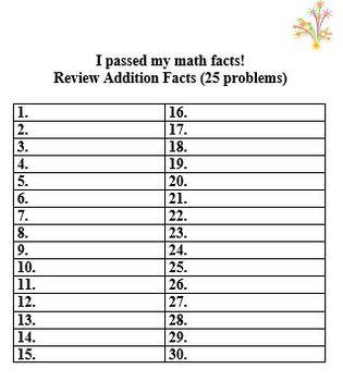 Grade 3 Math Facts Set