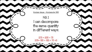 Grade 3 Math I Can Statement Posters Black and White Chevron