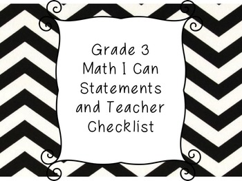 Grade 3 Math I Can Statement Posters and Teacher Checklist