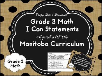 Grade 3 Math I Can Statements Manitoba Curriculum