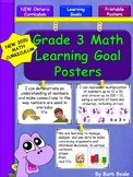 Grade 3 Math Learning Goal Posters - NEW 2020 Ontario Curriculum