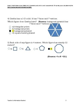Grade 3 Math Makes Sense (2004) Unit 3: Geometry and Unit 4: x and ÷ assessments