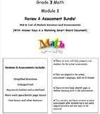 Grade 3, Math Module 1 REVIEW & ASSESSMENT w/Ans keys (printables & Smart Board)