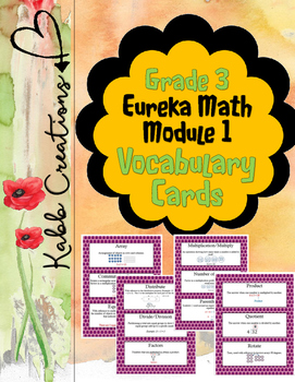 Grade 3 Math Module 1 Vocabulary Cards!