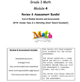Grade 3, Math Module 4 REVIEW & ASSESSMENT w/Ans keys (printables & Smart Board)