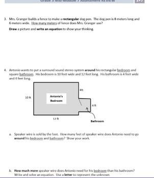 Grade 3, Math Module 7 REVIEW & ASSESSMENT Bundle w/keys (printables & Smart Bd)