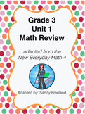 Grade 3 Math Review Bundle Adapted from Unit 1 New Everyday Math 4