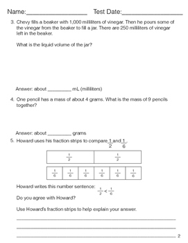 Grade 3 Math Review Study Guide ONLY Adapted from Unit 7 New Everyday Math 4