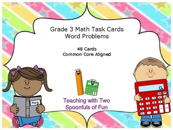 3rd Grade Math Word Problem Task Cards (Grade 3 Review) (Test Prep)