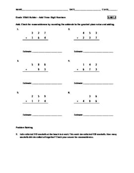 Grade 3 Math Skill Builder - Add Three-Digit Numbers FREE