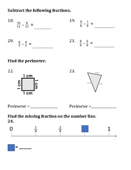 Grade 3 Math Spiral Review - Fractions, 3x Table, Perimeter