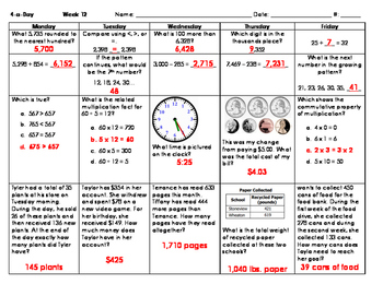 Grade 3 - Math Spiral Review for Weeks 10-18