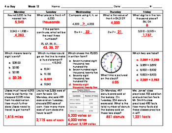 Updated for 2016 SOLs: Grade 3 - Math Spiral Review for Weeks 10-18