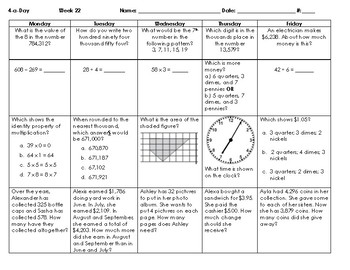 2016 SOLs: Grade 3 - Math Spiral Review for Weeks 19-27
