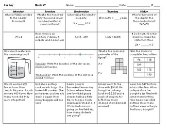 2016 SOLs - Grade 3 - Math Spiral Review for Weeks 28-36