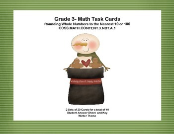 Grade 3- Math Task Cards-Rounding Whole Numbers to the Nea