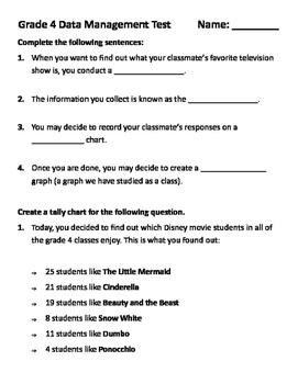 Grade 4 Math Test: Data Management - Pictograph, Bar Graph, Tally, Stem and Leaf
