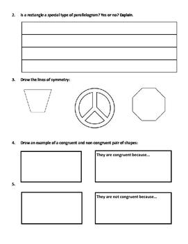 Grade 3 Math Test: Geometry - Shapes, Angles, Symmetry, Congruency