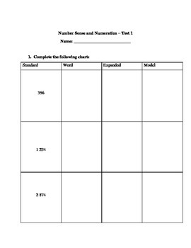 Grade 3 Math Test: Standard, Expanded, Word, Model; Money;
