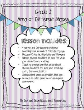 Grade 3 Math Three Part Lesson Area of Different Shapes