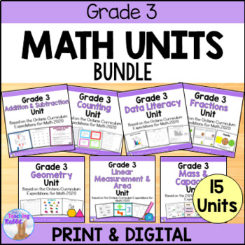 Grade 3 Math Units FULL YEAR BUNDLE (Based on the Ontario Curriculum)