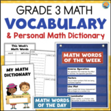 Grade 3 Math Vocabulary for Pocket Charts + Personal Math Dictionary
