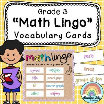 Grade 3 Math Vocabulary cards / Maths language / Australian curriculum aligned