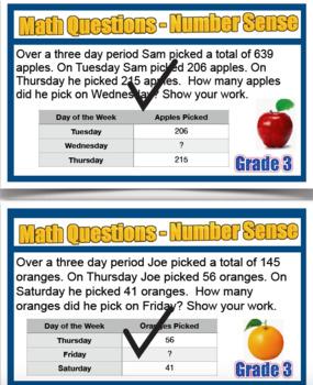 Grade 3 Math Word Problem Solving Cards Number Sense & Numeration 40 Cards