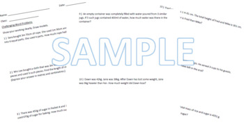 Grade 3 Math Worksheets including Challenging Practices