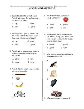 Grade 3 Measurement Assessment PA Common Core
