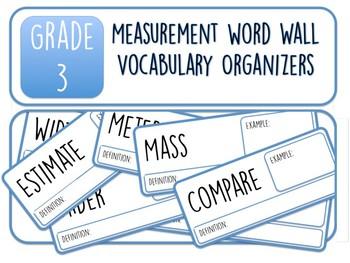 Grade 3 Measurement Word Wall Vocabulary Organizers