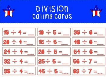Grade 3 - Memorial Day Multiplication and Division Bingo