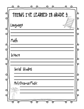 Grade 3 Memory Book - Beach Theme - Printable