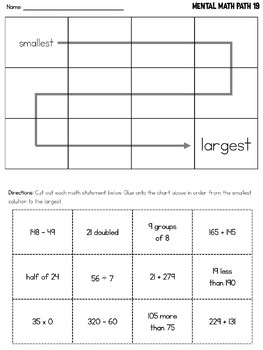 Grade 3 Mental Math Worksheets Addition Subtraction Multiplication Division
