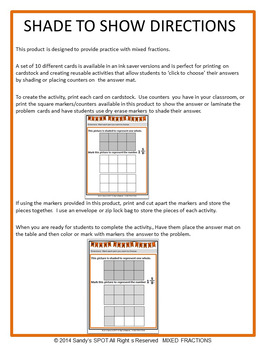 TEI Technology Enhanced Item Printable Practice MIXED FRACTIONS VA SOL 3.3