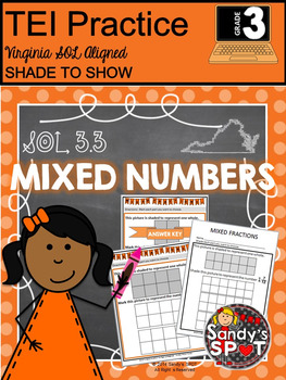 Grade 3 Mixed Numbers Shade the Answer Virginia SOL TEST PREP