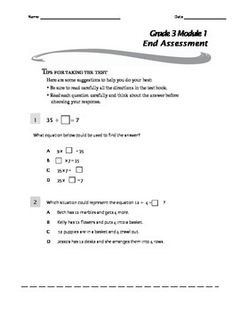 Grade 3 Module 1 End Assessment