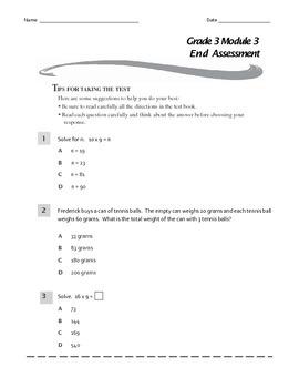 Grade 3 Module 3 End Assessment