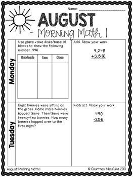 Grade 3 Morning Math Review: August