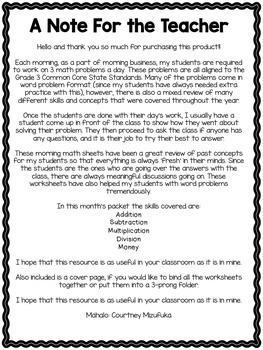 Grade 3 Morning Math Review: November