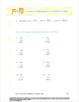 Grade 3:Math: Multi&Div:L3Multiply 2or3 Digits Worksheet 3.OA.A.1&7 3.NBT.A.3