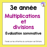 Grade 3 Multiplication & Division Test (French)
