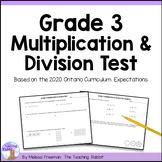 Grade 3 Multiplication & Division Test (Ontario Curriculum)